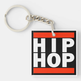 HIP HOP Double Sided Button Double-Sided Square Acrylic Key Ring