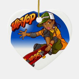 Hip Hop girl skateboard Cartoon Ceramic Heart Decoration