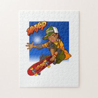 Hip Hop girl skateboard Cartoon Jigsaw Puzzles