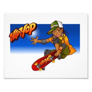 Hip Hop girl skateboard Cartoon Photo Print