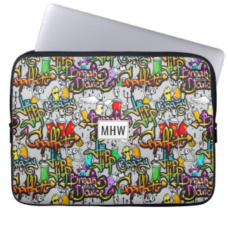 Hip Hop Graffiti custom monogram laptop sleeves