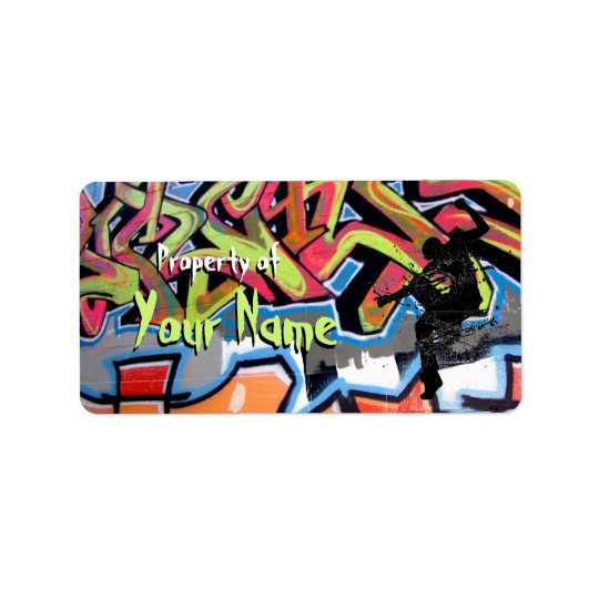 Hip Hop Graffiti Personalised Property Of Address Label