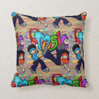 Hip - Hop Kids Dancing Graffiti Wall Background Cushion
