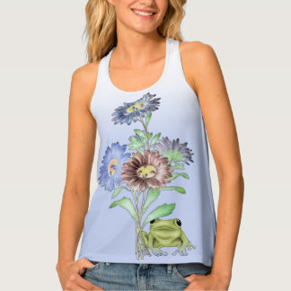 Hip Hop Musical Frog and Flowers Tank Top