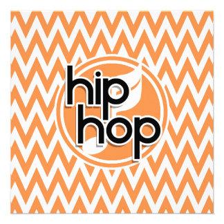 Hip Hop Orange and White Chevron Invites