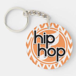 Hip Hop Orange and White Chevron Keychain