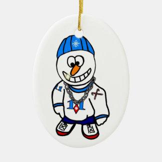 Hip Hop Rapper Christmas Snowman Ornament