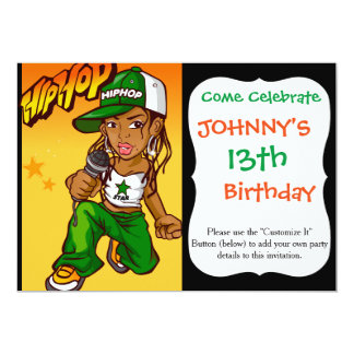 hip hop rapper girl green orange cartoon 13 cm x 18 cm invitation card