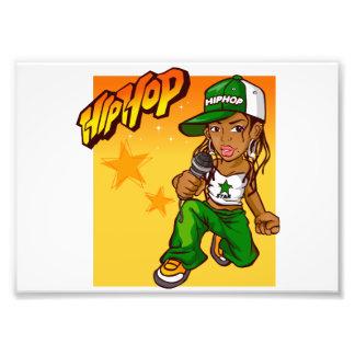 hip hop rapper girl green orange cartoon art photo