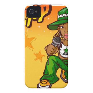 hip hop rapper girl green orange cartoon Case-Mate iPhone 4 cases