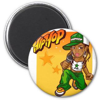 hip hop rapper girl green orange cartoon 6 cm round magnet