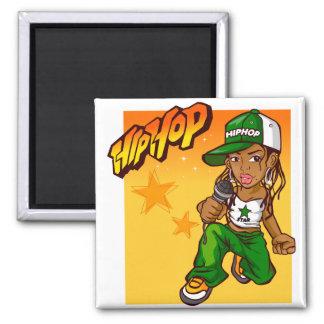 hip hop rapper girl green orange cartoon 2 inch square magnet