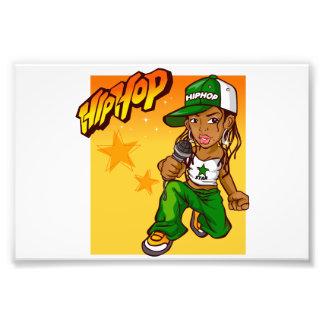 hip hop rapper girl green orange cartoon photo art