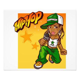 hip hop rapper girl green orange cartoon photograph