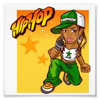 hip hop rapper girl green orange cartoon photographic print