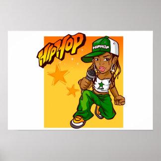 hip hop rapper girl green orange cartoon poster