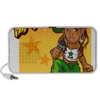 hip hop rapper girl green orange cartoon laptop speakers