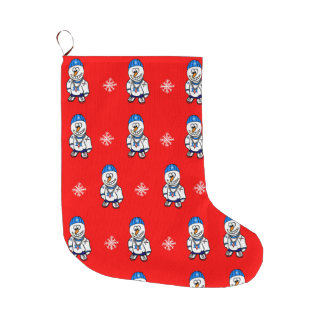 Hip Hop Rapper Snowman and Snowflakes Large Christmas Stocking