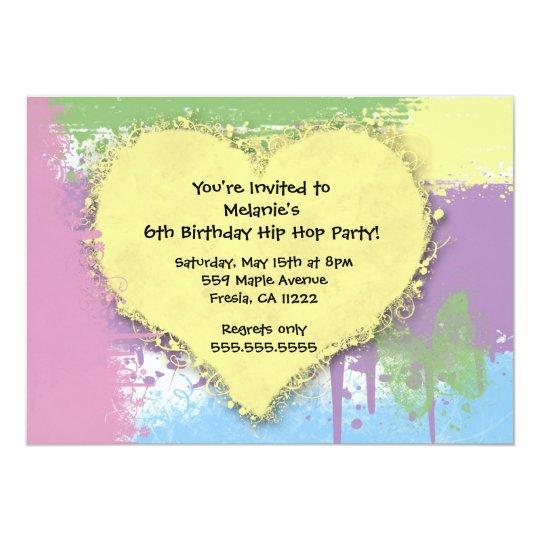 Hip Hop Sweet Pastels Birthday Invitation