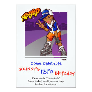 Hip Hop Teenage Skater Cartoon 13 Cm X 18 Cm Invitation Card