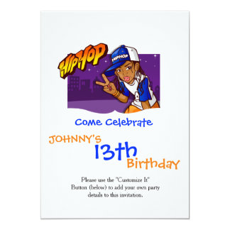 Hip Hop Teenage Skater Cartoon 13 Cm X 18 Cm Invitation Card