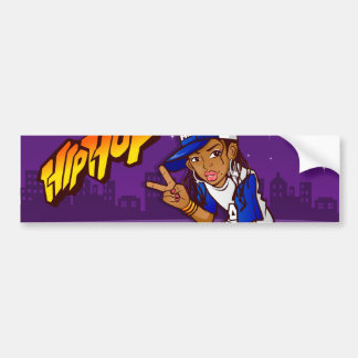 Hip Hop Teenage Skater Cartoon Bumper Sticker