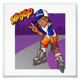 Hip Hop Teenage Skater Cartoon Photographic Print