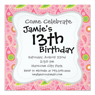 Hip Hot Pink and Neon Green Paisley Pattern 13 Cm X 13 Cm Square Invitation Card