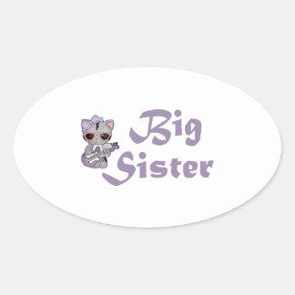 Hip Kitty Big Sister 3 Oval Sticker