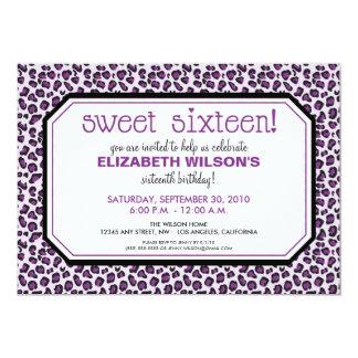 Hip Leopard Sweet 16 Birthday Party Invite: purple 13 Cm X 18 Cm Invitation Card
