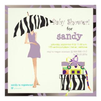 Hip mama, purple zebra baby shower 13 cm x 13 cm square invitation card