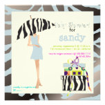 Hip mama, silver blue zebra baby shower custom invite