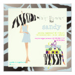 Hip mama, silver blue zebra baby shower custom invite