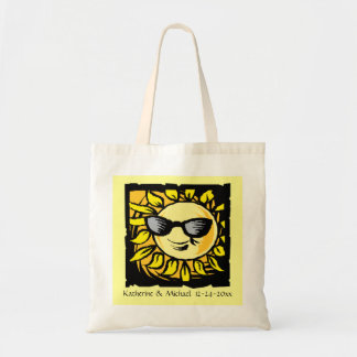 Hip Modern Summer Sun Bride Groom Wedding 2 Yellow Budget Tote Bag