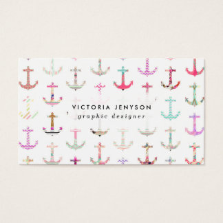 Hip Nautical Anchors Aztec Floral Stripes Pattern Business Card