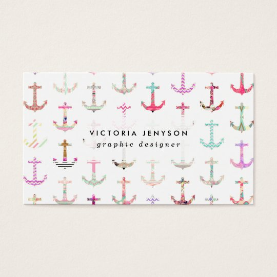 Hip Nautical Anchors Aztec Floral Stripes Pattern Business