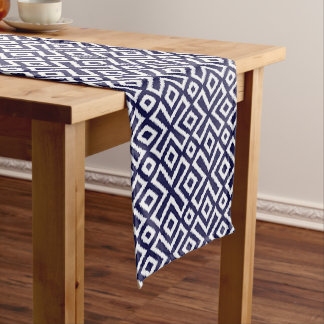 Hip Nautical Dark Blue White Ikat Squares Pattern Long Table Runner