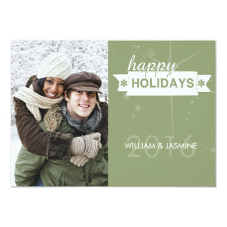 Hip Olive Retro Holiday Flat Card 13 Cm X 18 Cm Invitation Card
