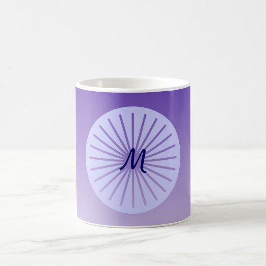 Hip purple circle with lines, monogrammed coffee mug