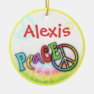 Hip Rainbow PEACE Personalized Ornament