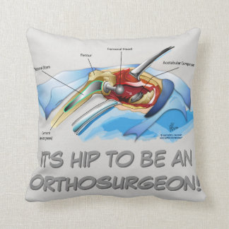 Hip Replacement Infographic pillow (grey text) Throw Cushions