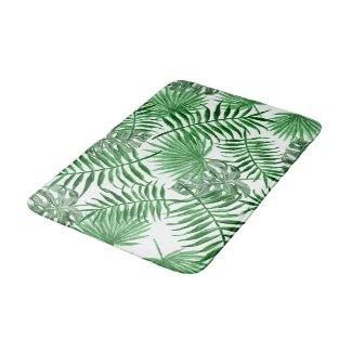 Hip Retro Tropical Green Palm Leafs Pattern Bath Mat