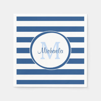 Hip Rich Blue Monogram and Horizontal Stripes Paper Serviettes