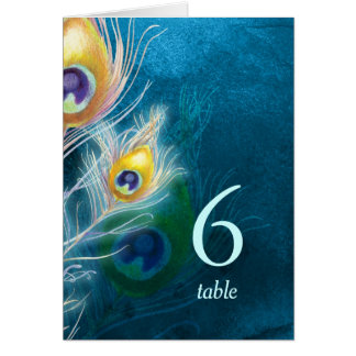 Hip Stylish Peacock Blue Wedding Table Numbers Note Card