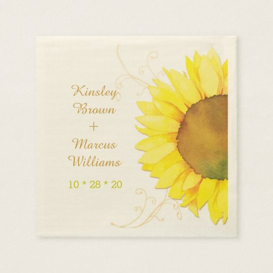 Hip Swirls, Sunflower Wedding Paper Napkins