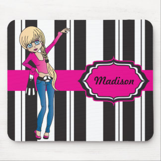 Hip Teen Girl with Black and White Stripes Mouse Mat