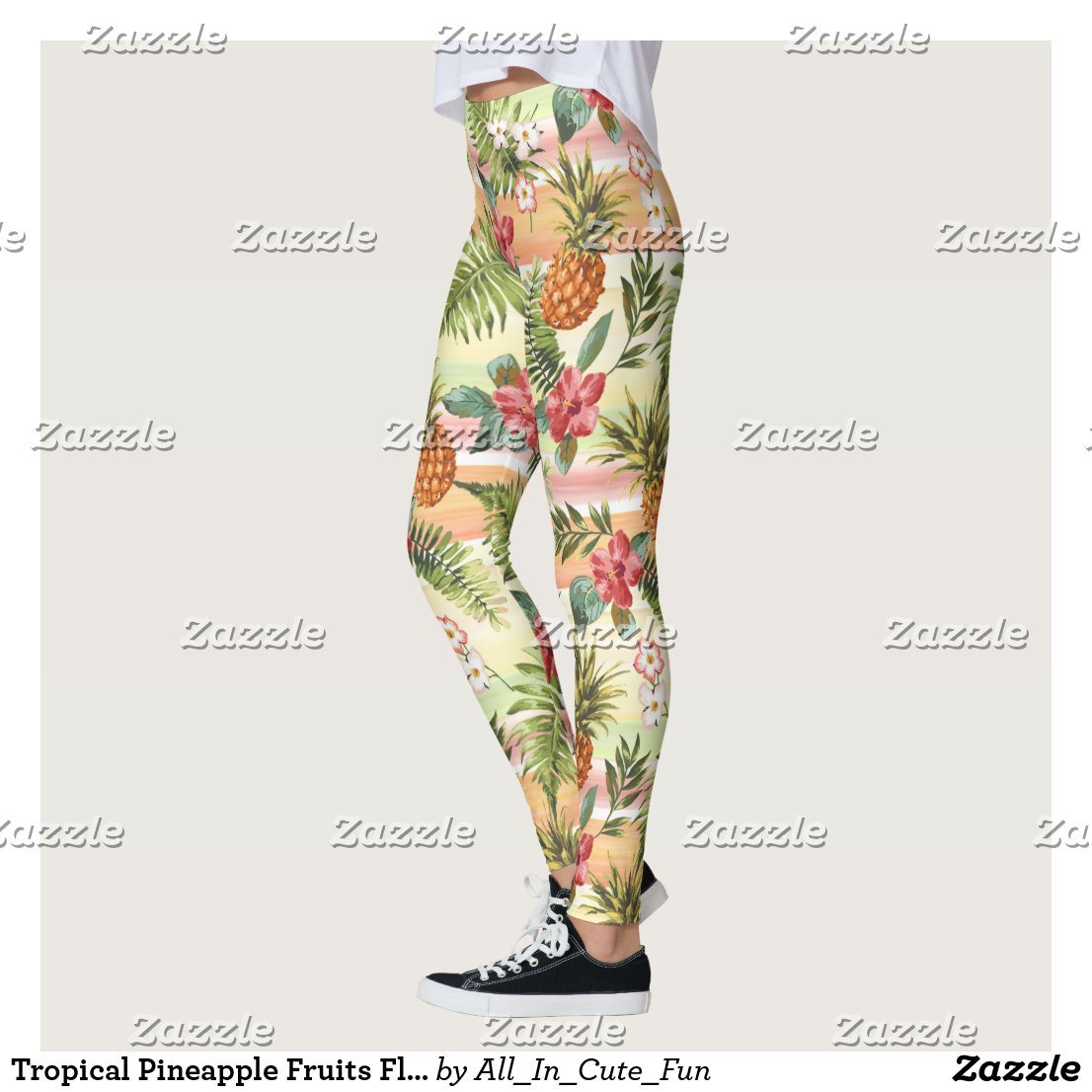 Hip Tropical Pineapple Fruit Floral Stripe Pattern Leggings