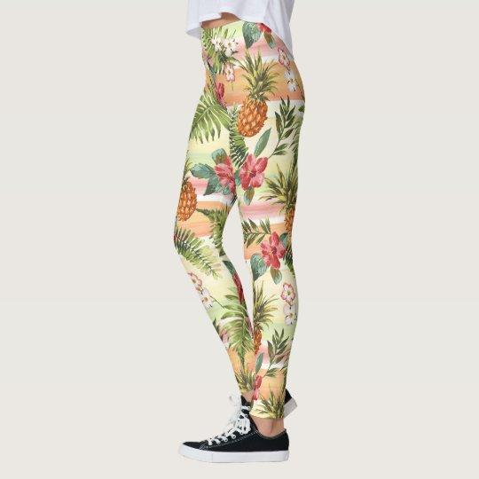 Hip Tropical Pineapple Fruit Floral Stripe Pattern Leggings