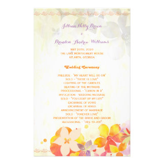 Hip Watercolor Garden Floral Wedding Programs 14 Cm X 21.5 Cm Flyer