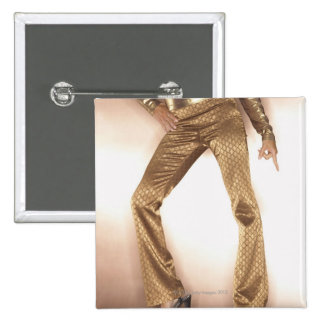 Hip woman in gold disco dancing 15 cm square badge